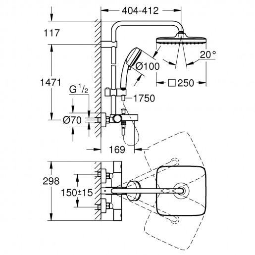 Душова система з термостатом Grohe Tempesta Cosmopolitan System Cube 250