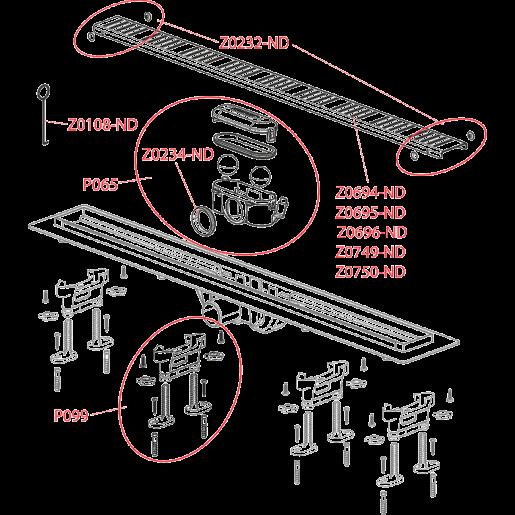 Водовідвідний жолоб Alca Plast APZ10 SIMPLE з порогами для перфорованої решітки (горизонтальний стік)