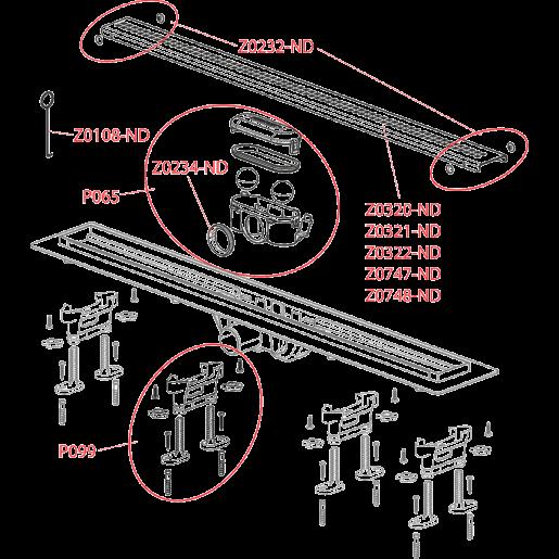 Водовідвідний жолоб Alca Plast APZ9 SIMPLE з порогами для перфорованої решітки (горизонтальний стік)