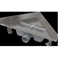 Водовідвідний кутовий жолоб Alca Plast ARZ1 з нержавіючої сталі, без порогу для перфорованої решітки