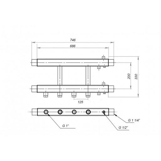 Коллекторная балка Hidromix - 2 нижних выходы 75 кВт