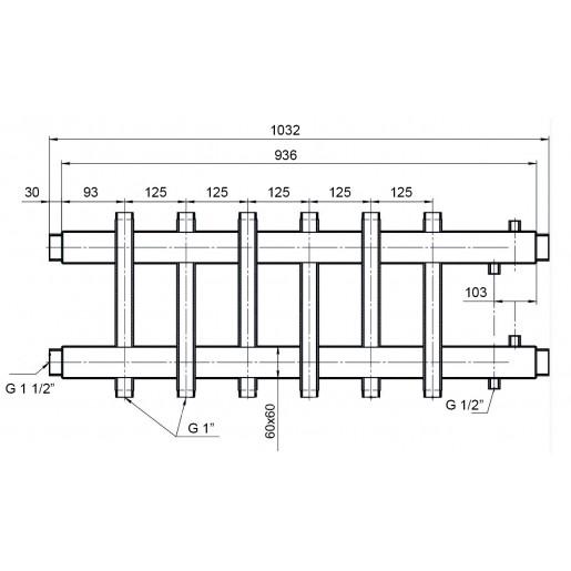 Двусторонний коллектор Hidromix - 3 выхода вверх/вниз 110 кВт