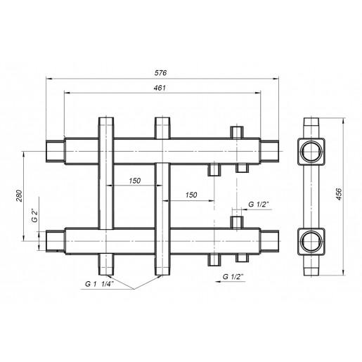 Двусторонний коллектор Hidromix - 1 выход вверх/вниз 180 кВт