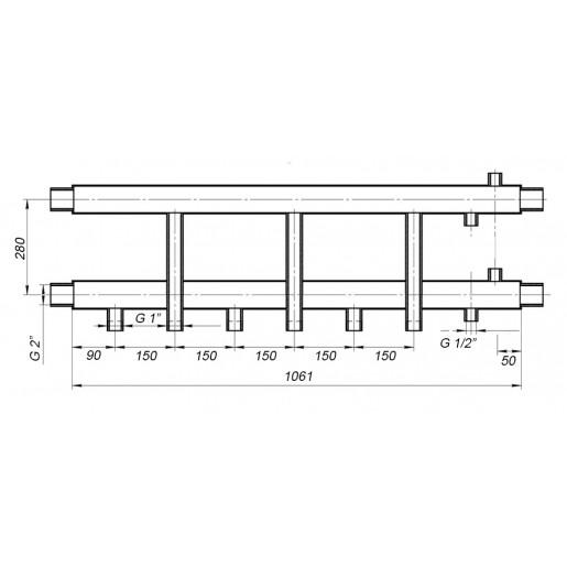 Коллекторная балка Hidromix - 3 нижних выхода 180 кВт