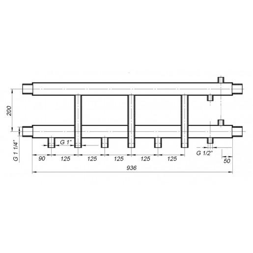 Колекторна балка Hidromix - 3 нижніх виходи 75 кВт