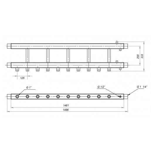 Коллекторная балка Hidromix - 5 нижних выходов 75 кВт