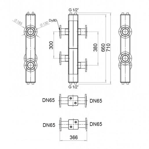 Гідравлічний роздільник з фланцевим підключенням Hidromix 180 кВт