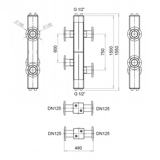 Гідравлічний роздільник з фланцевим підключенням Hidromix 750 кВт