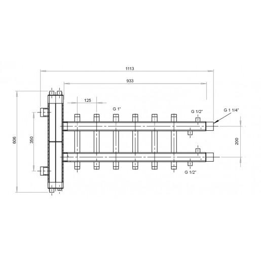 Гідрострілка с коллектором Hidromix - 3 выхода вверх/вниз 75 кВт