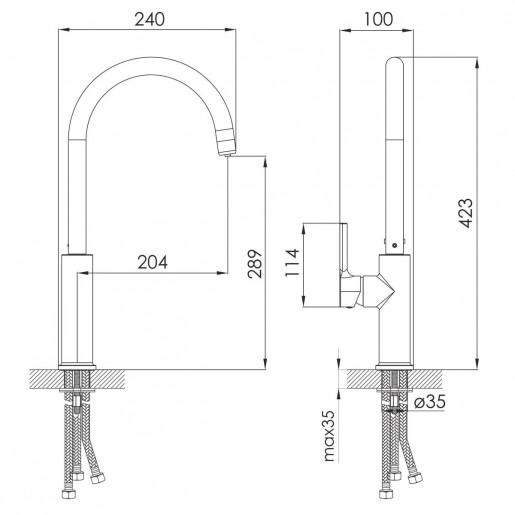 Змішувач для кухні Daicy з високим виливом та підключенням фільтра