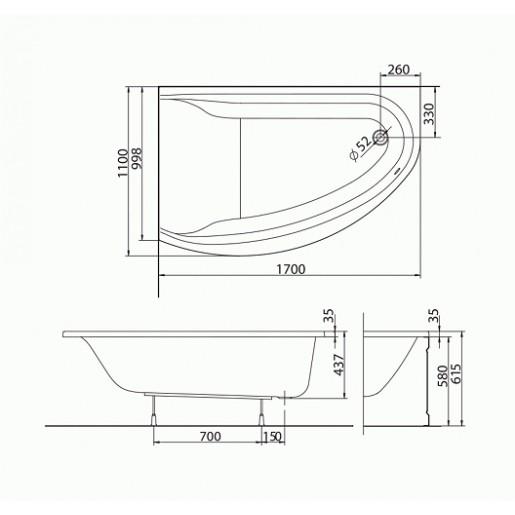 Ванна акрилова асиметрична KOLO Mirra 170x110 R + ніжки та панель