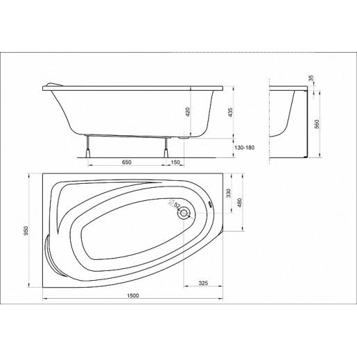 Ванна акрилова асиметрична кутова KOLO Mystery 150x95 L + ніжки та панель