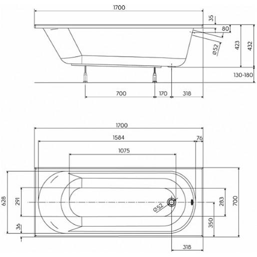 Ванна акрилова прямокутна KOLO Opal Plus 170x70