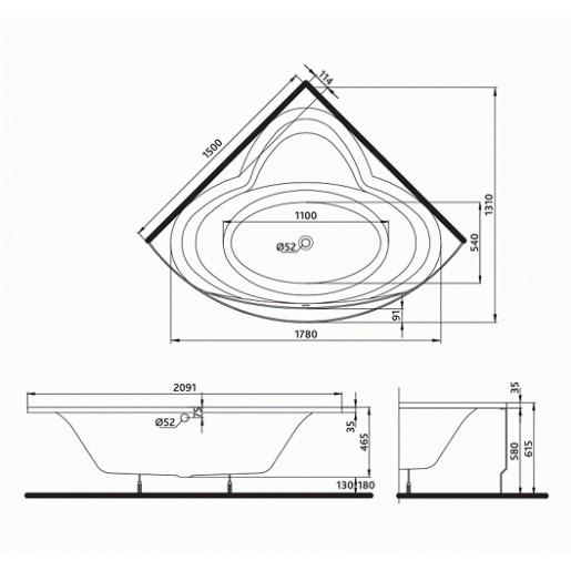 Ванна акрилова кутова KOLO Relax 150x150 + ніжки та панель