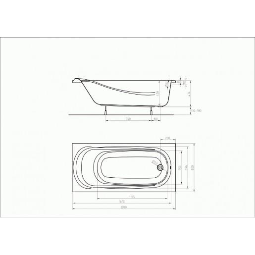 Ванна акрилова прямокутна KOLO Saga 170х80 см з ніжками