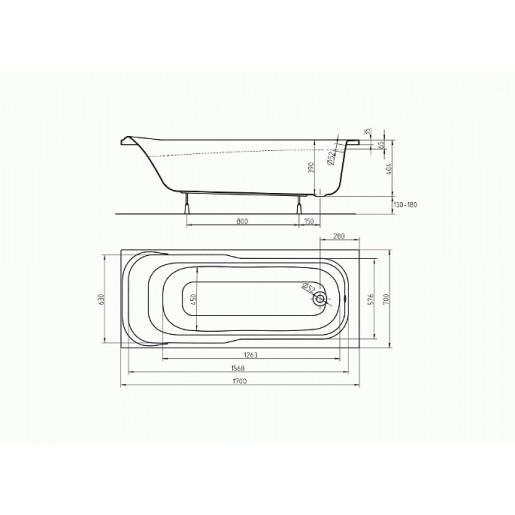 Ванна акрилова прямокутна KOLO Sensa 170х70 см (без ніжок)