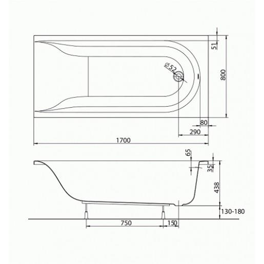 Ванна акрилова прямокутна KOLO Mirra 170x80 см з ручками та ніжками