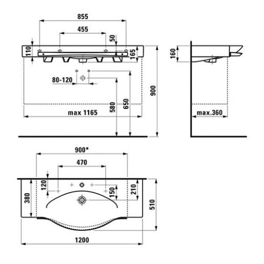 Раковина-стільниця 120 х 51 см Laufen PALACE  + тумба 119.5 х 37.5 см