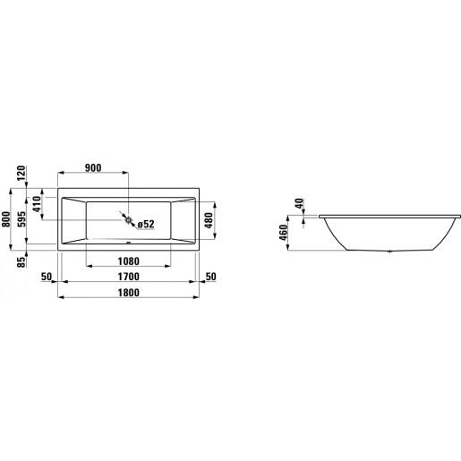 Ванна прямокутна LAUFEN Pro 180x80x46 см з панеллю