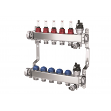 """Колектор Purmo Premium Line з нержавіючої сталі з витратомірами 1"""" x  2-12 контурів"""