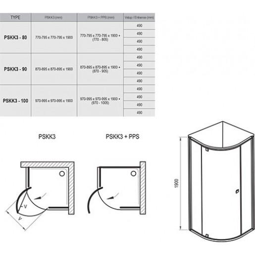 Душова кабіна Ravak Pivot PSKK3 чорний + прозорий