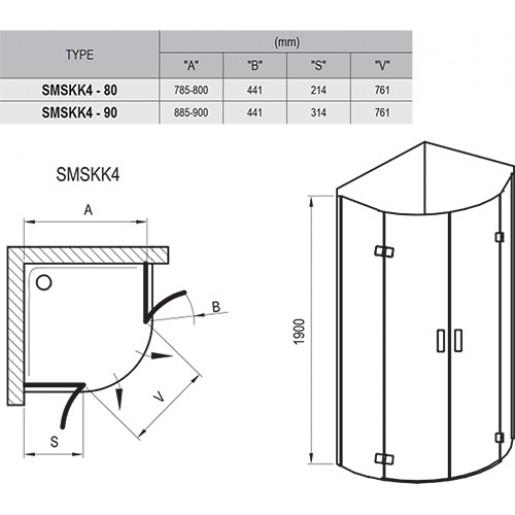 Душова кабіна Ravak Smartline SMSKK4 хром