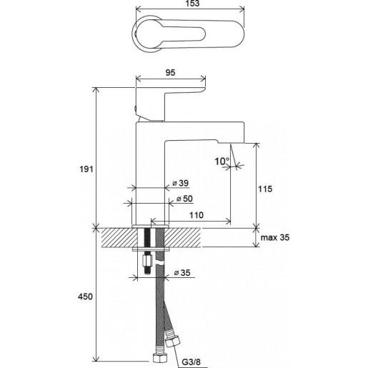 Змішувач для умивальника Ravak Puri 190 мм