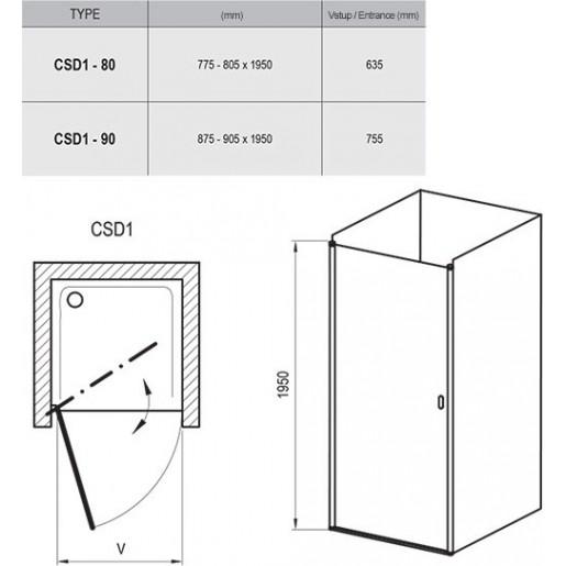 Душевые двери Ravak Chrome CSD1 полированный алюминий