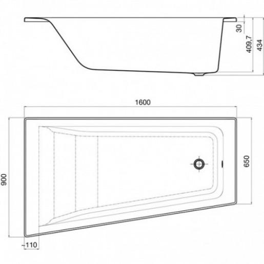 Ванна акрилова кутова ROCA Easy 160x90 см права + ніжки та панель
