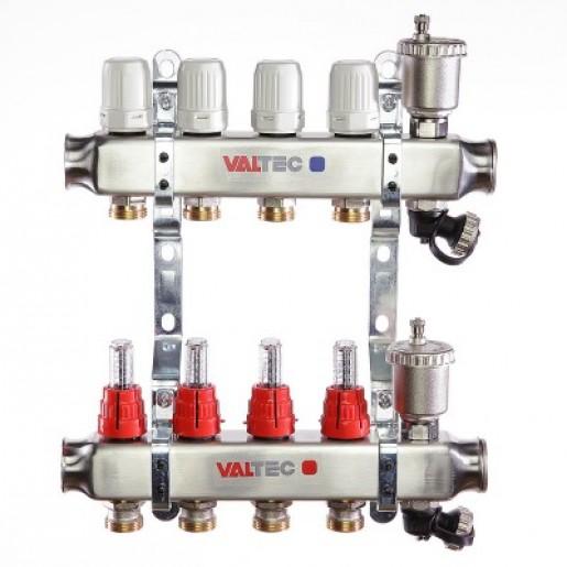 Коллекторный блок Valtec VTC.586 с нержавеющей стали с термостатическими клапанами и расходомерами