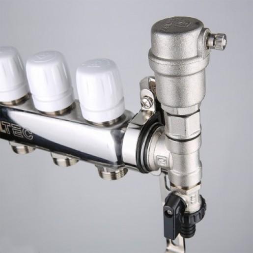 Коллекторный блок Valtec VTC.588 с нержавеющей стали c регулировочными и балансировочными клапанами