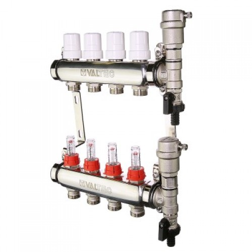 Колекторний блок Valtec VTC.589 з нержавіючої сталі з термостатичними клапанами і витратомірами